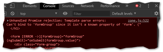 Missing ReactiveFormsModule error message