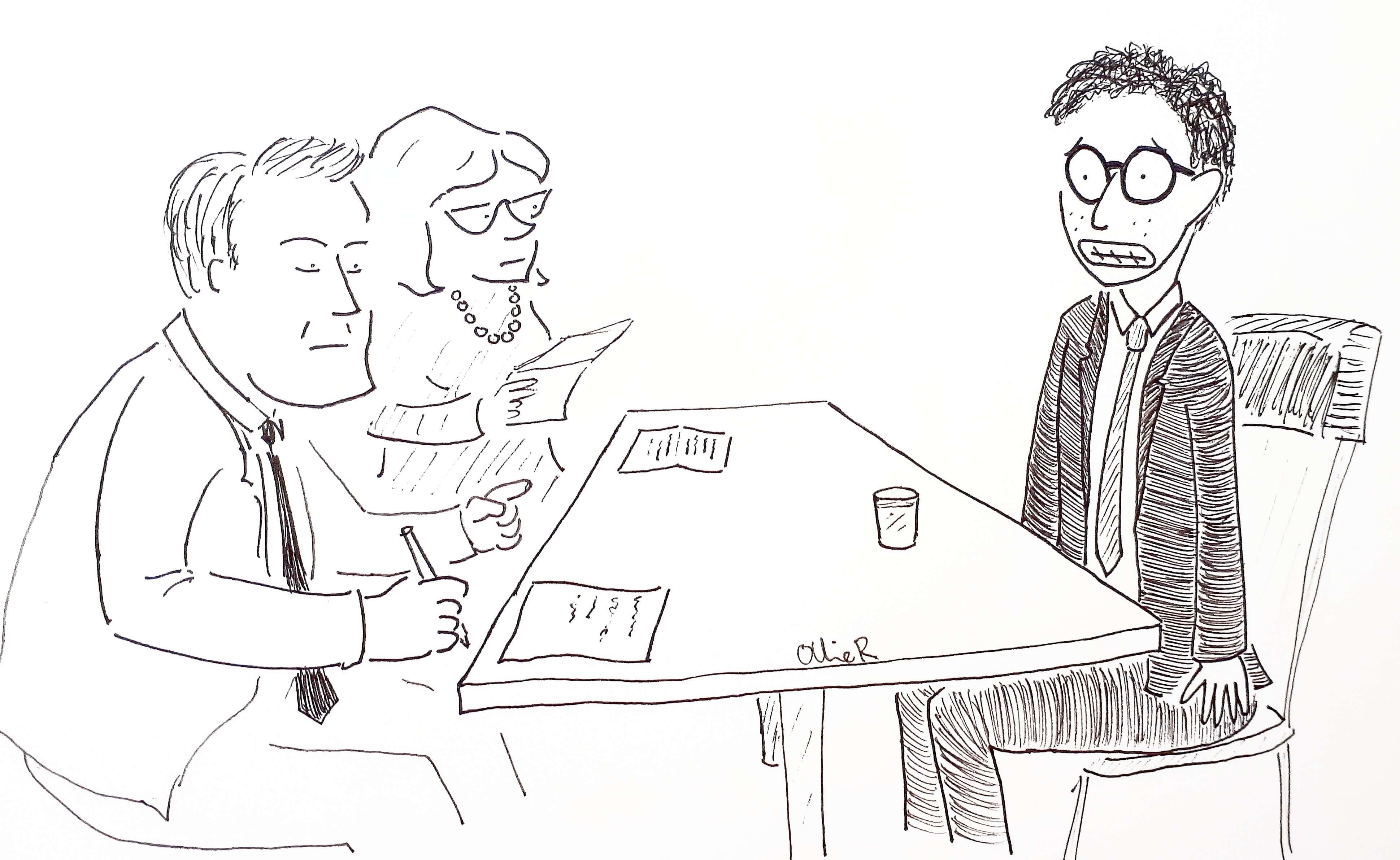 Cartoon of nerd in his early twenties at his first job interview