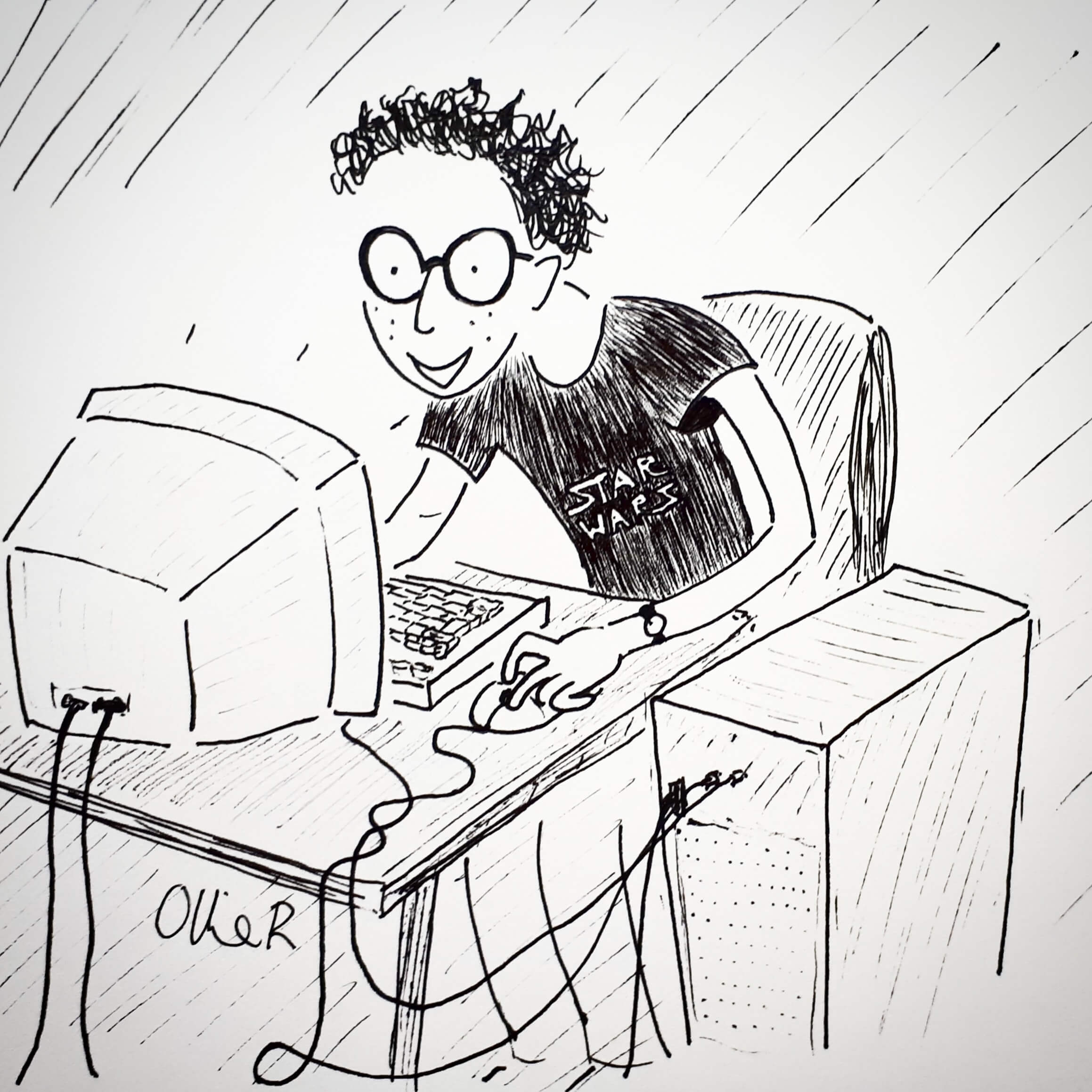 Cartoon of a nerdy teenager at a PC