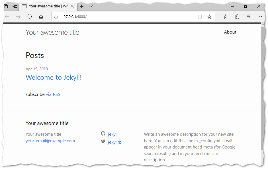 Browse your Jekyll blog locally!