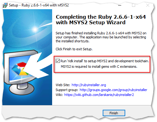 Completing the Ruby+DevKit with MSYS2 Setup Wizard