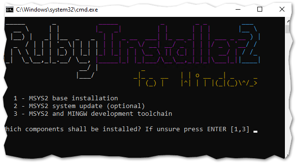 Running ridk install to setup MSYS2 and the development toolchain